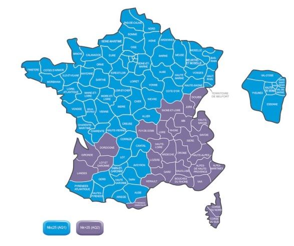 Niveau kéraunique en France métropolitaine